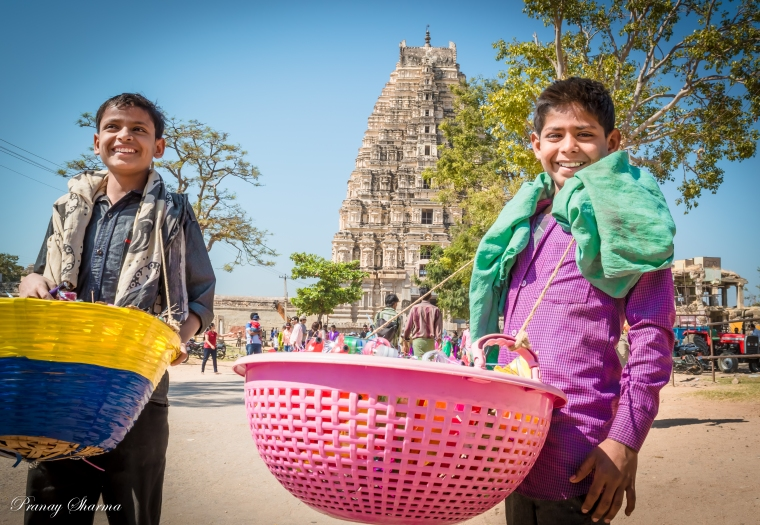 kids in front of Virupaksha Temple